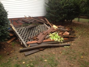 Removal of old deck wood, Debris Removal